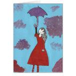 El chica del paraguas tarjetas