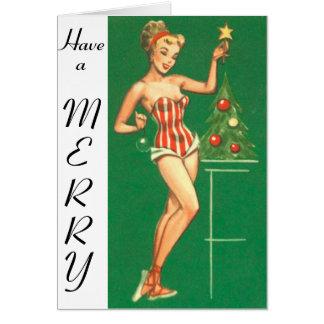 El chica del Pin-Para arriba del navidad tiene una Tarjeta De Felicitación