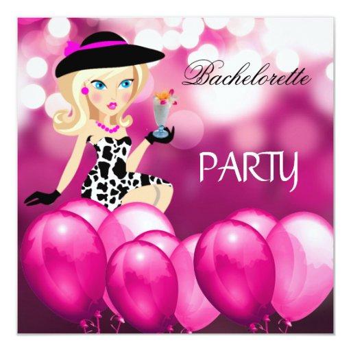 """El chica del rosa del fiesta de Bachelorette Invitación 5.25"""" X 5.25"""""""