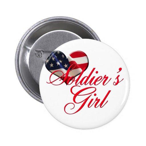 El chica del soldado pin redondo 5 cm