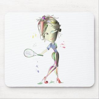 ¡El chica del Srta.-ajuste juega a tenis! Alfombrillas De Ratón