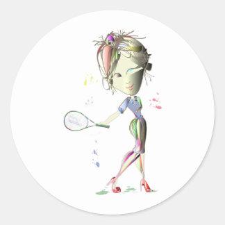 el chica del Srta -ajuste juega al pegatina del te