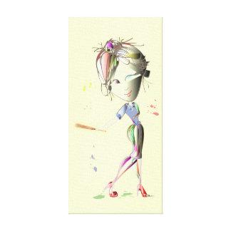 El chica del Srta.-ajuste juega la lona envuelta b Impresion De Lienzo