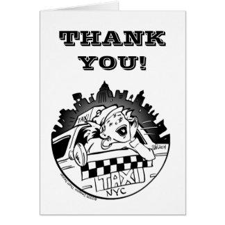 El chica del taxi le agradece grita hacia fuera tarjeta de felicitación