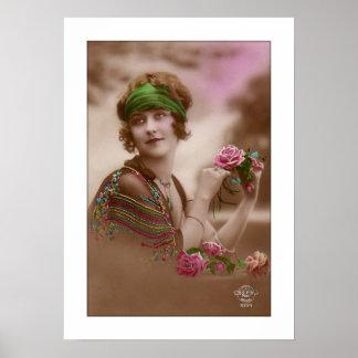 el chica del victorian con la bufanda, mantón, póster
