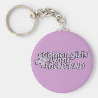 El chica del videojugador quiere la D Llavero Redondo Tipo Pin