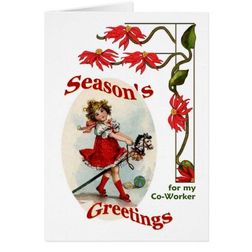 El chica del vintage sazona los saludos para el tarjeta de felicitación