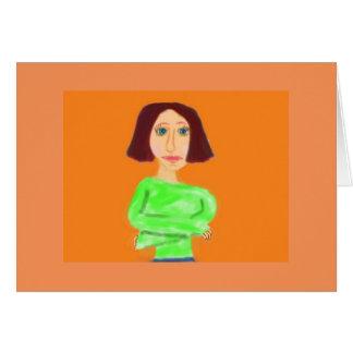 El chica en el suéter verde tarjeta de felicitación