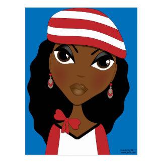 El chica en la postal del gorra