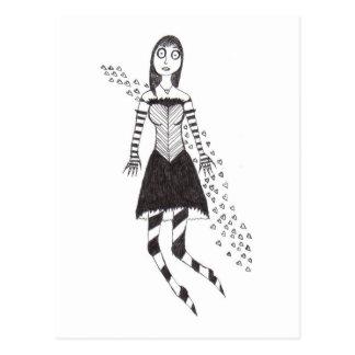 El chica espeluznante del corazón tarjeta postal
