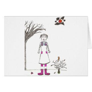 El chica espeluznante del payaso tarjeta de felicitación