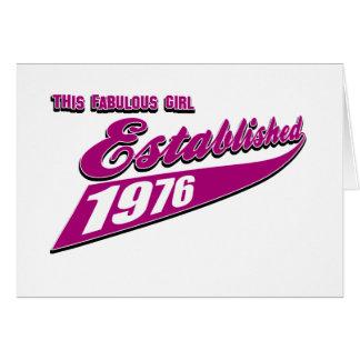 El chica fabuloso estableció 1976 tarjeta de felicitación