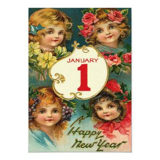 """El chica florece Año Nuevo del 1 de enero Invitación 5"""" X 7"""""""
