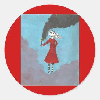 El chica gótico del humo pegatina redonda