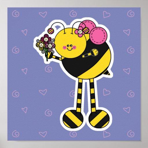 El chica lindo manosea la abeja impresiones