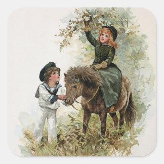 El chica monta el vintage del potro de Shetland Pegatina Cuadrada