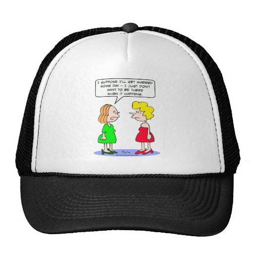 El chica no quiere ser allí cuando ella se ha casa gorras de camionero