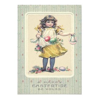 """El chica Pascua coloreada Eggs color de rosa Invitación 5"""" X 7"""""""