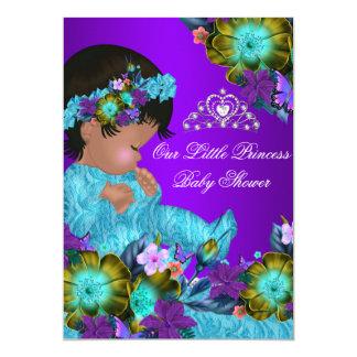 """El chica púrpura azul del trullo de la princesa invitación 5"""" x 7"""""""
