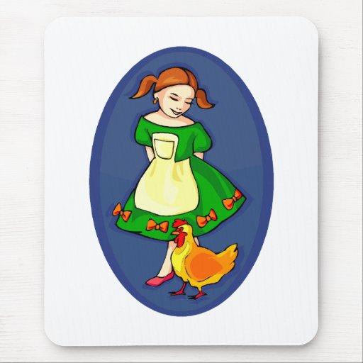 el chica que coloca el vestido verde cihcken óvalo tapetes de ratón
