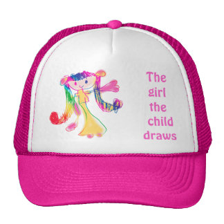 El chica que el niño dibuja dibuja la plantilla de gorros bordados