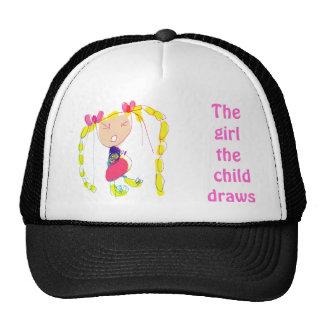 El chica que el niño dibuja dibuja la plantilla de gorra