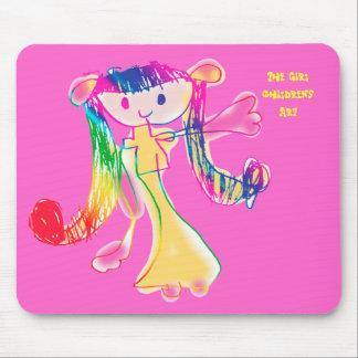 El chica que el niño dibuja alfombrilla de raton