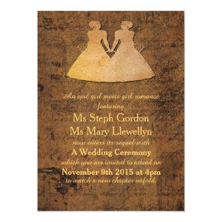 El chica resuelve la invitación lesbiana del boda invitación 13,9 x 19,0 cm