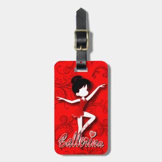 El chica rojo lindo adorable de la bailarina el | etiqueta para maleta
