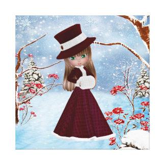 El chica rubio, navidad, nieve, premio envolvió la impresión en tela
