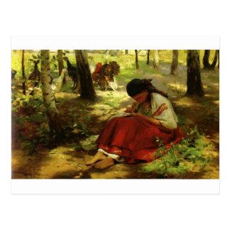 El chica ucraniano borda tarjetas postales