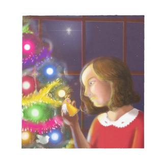 El chica y el ángel del árbol bloc de papel