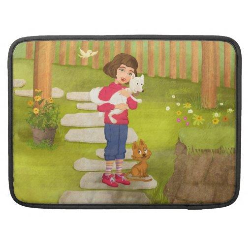 El chica y el carrito divertido del perrito agitan fundas para macbooks