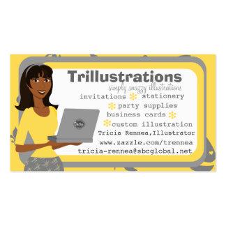 El chica y su ordenador portátil plantilla de tarjeta personal