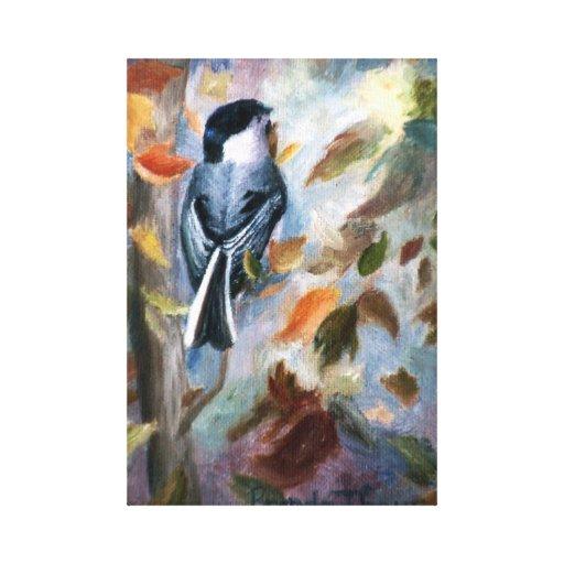 El Chickadee en la caída envolvió la impresión de  Impresion De Lienzo