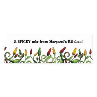 el chile picante del doodle del hippie sazona la tarjetas de visita mini