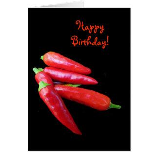 El chile picante sazona cumpleaños con pimienta tarjeta de felicitación
