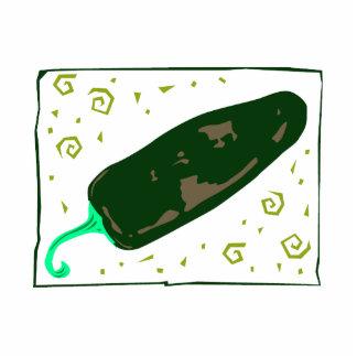 El chile verde redondeado remolina pimienta escultura fotográfica