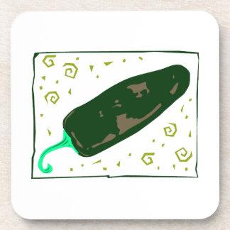 El chile verde redondeado remolina pimienta posavasos de bebidas