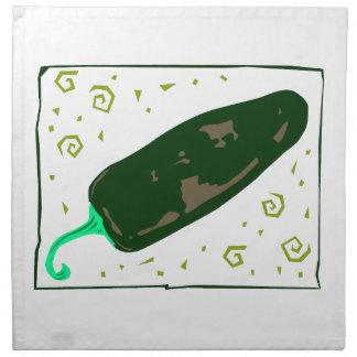 El chile verde redondeado remolina pimienta servilleta imprimida
