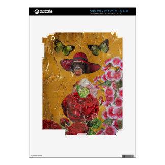 El chimpancé florece el collage del Grunge de la iPad 3 Skin