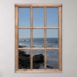 El chispear agita en la opinión de la playa de una impresiones