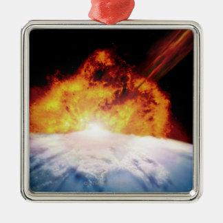 El chocar asteroide con tierra adorno navideño cuadrado de metal