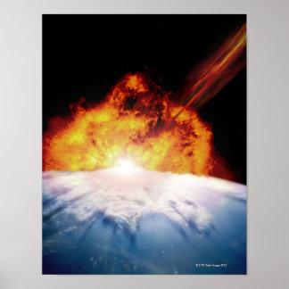 El chocar asteroide con tierra poster
