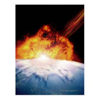 El chocar asteroide con tierra tarjeta postal