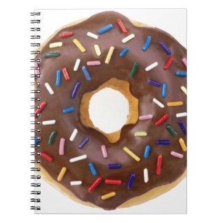 El chocolate asperja el buñuelo libro de apuntes con espiral