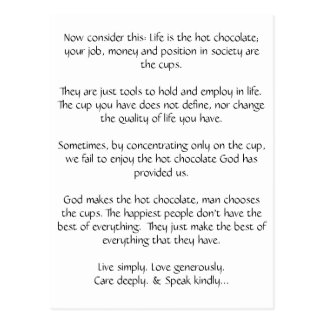 El chocolate caliente de dios - postal