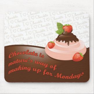 El chocolate compensa el cojín de ratón de lunes tapetes de ratón