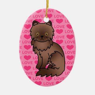 El chocolate con el naranja observa amor del gato adorno navideño ovalado de cerámica