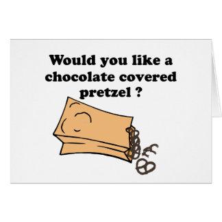 el chocolate cubrió los pretzeles tarjeta de felicitación